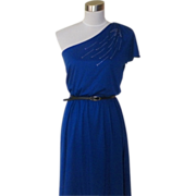 1970s Royal Blue Disco Dress with Sparkle