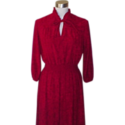 1970s Red Terry Cloth Gypsy Style Dress