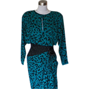 1980s Emerald Green &Black Animal Print Cocktail / Disco Dress