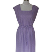 1970s Lavender Polyester Textured Tunic / Sheath Dress