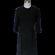 1950s Basic Black Wiggle Dress Rayon