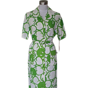 1960s Green & White Print Sheath Dress - Mr. Jack Dallas