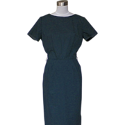 1950s Deep Forest Green Wiggle Dress