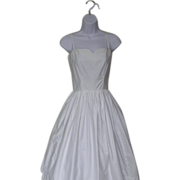 1950s White Cotton Rockabilly Sun / Dance Dress
