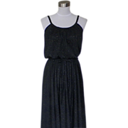 1970s Black Polyester Disco Dress with Glittery Sparkles