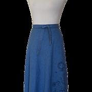 1970s Vintage Jean Like Material Wrap Skirt - Appliqued