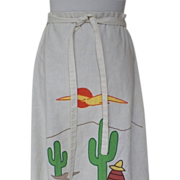 1970s Vintage Off White Wrap Skirt with Mexican Themed Appliques