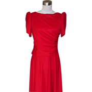 1980s Vintage Red Bridesmaid or Evening Dress