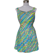 1950s / 1960s Vintage Green, Blue and Pink Play Suit