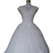 1980s/1990s Fairytale Princess Cinderella Wedding Dress White Lace