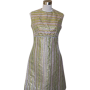 1960s Vintage Green, Silver and Gold Cocktail Dress