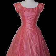 1950s Vintage Coral Cocktail / Bridesmaids Dress - Lorrie Deb