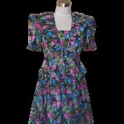 1980s Vintage Floral Garden Party Dress