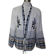 1970s Vintage White Embroidered Hippie Ethnic Sweater