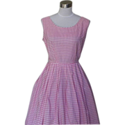 1950s Vintage Pink and White Checked Dress - Rockabilly