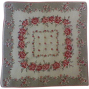 Vintage Pink and Gray Floral Hanky