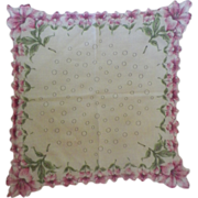 Vintage White Hanky with Pink Lilies