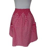 1950s / 1960s Vintage Red and White Checked Apron