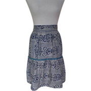1950s / 1960s Vintage Navy Blue and White Apron