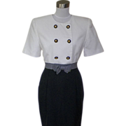 1980s Vintage Black and White Office Dress Bow Detailing
