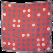 Vintage Red, White & Blue Polka Dot Scarf - Vera