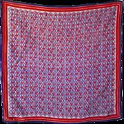 Vintage Red & Purple Floral Scarf by Vera