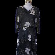 1970s Vintage Semi-sheer Black Dress with Floral Design