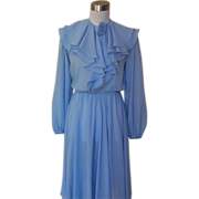1970s Vintage Baby Blue Ruffled Cocktail Dress