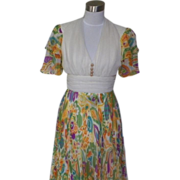 1970s Vintage Ivory and Bright Colorful Floral Design Evening Dress / Gown