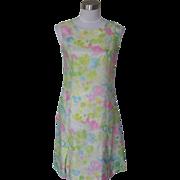 1960s Vintage Scooter Water Color Floral Design Dress