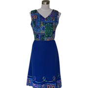 1960s Vintage Royal Blue Summer Dress Multi Colored Bodice