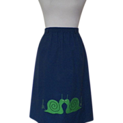 1970s Vintage Navy Blue Skirt with Green Snail Appliques