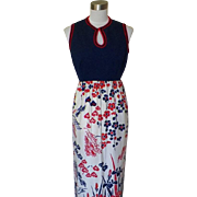 1970s Vintage Patriotic Red, White and Blue Maxi Dress - R&K Knits