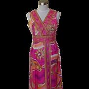 1960s Vintage Hot Pink Palazzo Pants / Maxi Dress