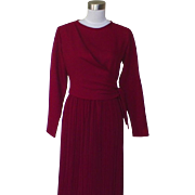 1970s Vintage Dark Red Dress with Pinch Pleated Skirt