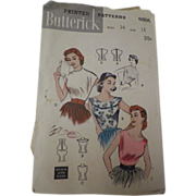 Vintage 1950s Butterick Pattern #6886 for Quick and Easy Blouses