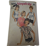 1966 Vintage Simplicity Pattern #6844 for Misses Set of Blouses