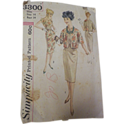 1960s Vintage Simplicity Pattern #3300 for Dress with Reversible Jacket