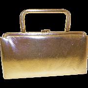 1960s Gold Toned Vinyl Purse / Clutch / Handbag
