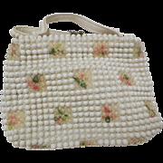 1960s / 1970s Vintage White Beaded Floral Purse / Handbag