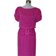 1980s Vintage Hot Pink Cocktail Dress with Rhinestones