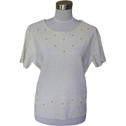 1960s Vintage Off White Knit Beaded Blouse