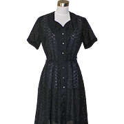 1950s Vintage Black Cotton Eyelet Dress