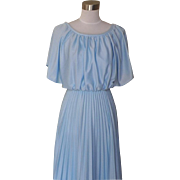 1970s Vintage Classic Baby Blue Disco Dress