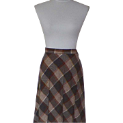 1970s Vintage Brown and Tan Wool A-Line Skirt