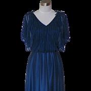 1970s Vintage Midnight Blue Classic Disco Dance Dress