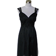 1950s / 1960s Vintage Black Nylon Nightgown with Floral Appliques