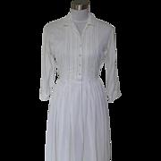 1950s Vintage White Nylon Dress with Full Skirt