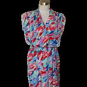 1070s Vintage Wrap Look Water Color Floral Dress