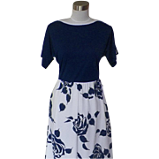 1970s Vintage Navy Blue and White Floral Dress - Alfred Shaheen